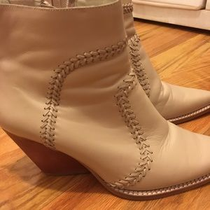 Jeffrey Campbell cream leather boots low heel